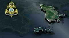 Preah Sihanouk with Coat Of Arms Animation Map Stock Footage