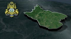 Ratanakiri with Coat Of Arms Animation Map Stock Footage