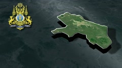 Takeo with Coat Of Arms Animation Map Stock Footage