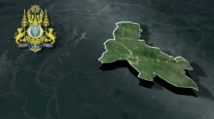 Svay Rieng with Coat Of Arms Animation Map Stock Footage