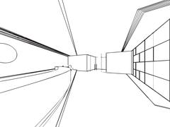 Interior outline sketch drawing perspective of a space office Stock Illustration