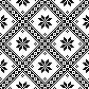 Seamless Ukrainian or Belarusian folk art embroidery black pattern Stock Illustration