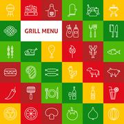 Vector Line Grill Menu Icons - stock illustration