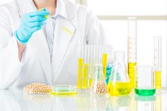 Asian female scientist drop to do genetic modification research Stock Photos