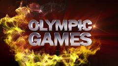 OLYMPIC GAMES Text Animation and Particles Ring, Loop, 4k Stock Footage