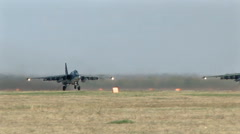 Russian military airplanes SU-25 take off Stock Footage