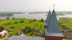 Aerial View. Church of St. Anthony of Padua Pastavy. Aerial drone shot. Stock Footage