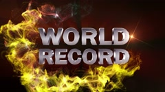 WORLD RECORD Text Animation and Particles Ring, Loop, 4k Stock Footage