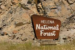Helena National Forest Sign US Department of Agriculture Stock Photos