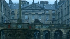 Edinburgh City Chambers with Slow Motion Rain Stock Footage