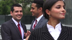 Business Men Admire Female Coworker Stock Footage