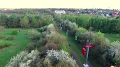 Ropeway in Gorky park of Kharkiv Stock Footage