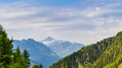 Timelapse of Beautiful View of Mont Blanc Massif with the grass and little flowe Stock Footage