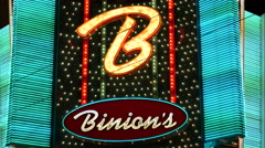 Binions Casino Neon Sign at Night - Las Vegas Stock Footage