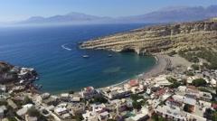 Matala Beach View Drone Shot - descending 2.7K Stock Footage