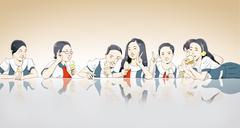 Asian kids eating ice-cream Stock Illustration