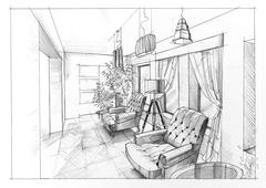 Drawing of an interior - stock illustration