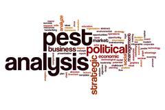 Pest analysis word cloud concept Stock Illustration