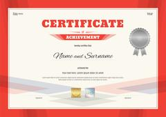 Certificate of Achievement template in modern theme with red border - stock illustration