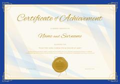 Certificate of Achievement template in modern theme with blue border Stock Illustration