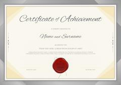 Certificate of Achievement template in modern theme with silver border Stock Illustration