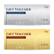 Gift voucher or gift certificate template in luxury gold and silver theme - stock illustration