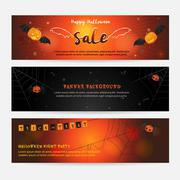 Set of happy Halloween banner background for event sales with evil wings, spi Stock Illustration