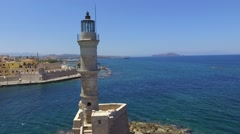 Light Tower - Harbor Chania Crete Greece - Drone shot- 2.7 K Stock Footage
