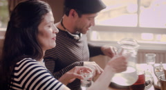 Businesspeople dining at a restaurant Stock Footage