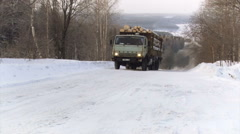 Loaded Truck Moving up the Hill. Winter Stock Footage