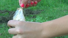 Girl hands hold Carp on the hook Stock Footage