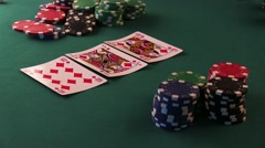 Poker Player Counts Poker Chips and Bet - stock footage