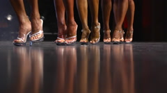 Ladies in a Beauty Pageant - Line up of women - feet only - stock footage