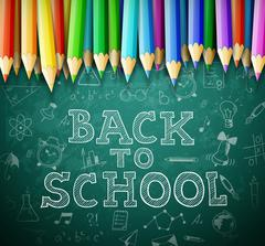 Back to school vector background with chalk board and pencils - stock illustration