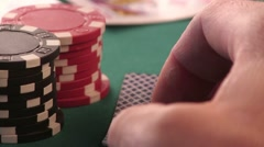 Ace and King. Diamonds Poker Card in the Hands Stock Footage