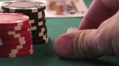 Royal Flush. Ace and King in Hand Stock Footage