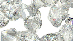 Gems scatter and fly away over white with Alpha Stock Footage