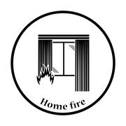 Home fire icon Stock Illustration