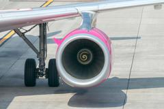 Aircraft Wizz Air aviation company at the airport of Bergamo. Stock Photos
