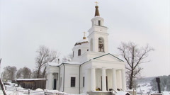Snow White Church and Landscape. Orthodox Christian Church. Countryside Stock Footage