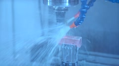 Metalworking technology. The coolant on the metal parts - stock footage