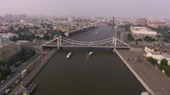 Krymsky bridge aerial view car traffic Stock Footage