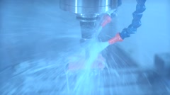 Metalworking technology. The coolant on the metal parts Stock Footage