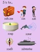 Many words begin with letter S Stock Illustration