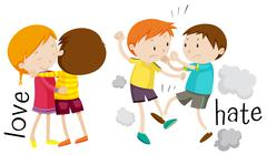 Kids showing love and hate Stock Illustration