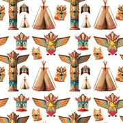 Seamless background with totem poles Stock Illustration