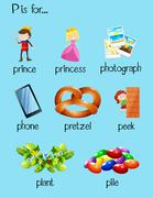 Many words begin with letter P Stock Illustration