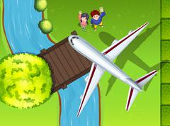 Aerial view of airplane flying over the park Stock Illustration