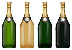 Champagne bottle in many colors Stock Illustration
