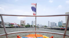 Traveling by riverboat through the Chao Phraya River, Bangkok - stock footage